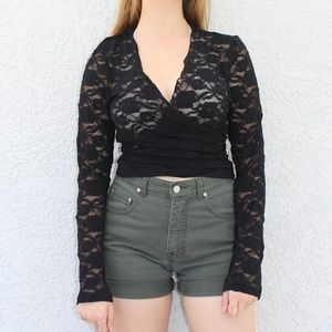 Newport News Black Lace Long Sleeve WrapTie Blouse